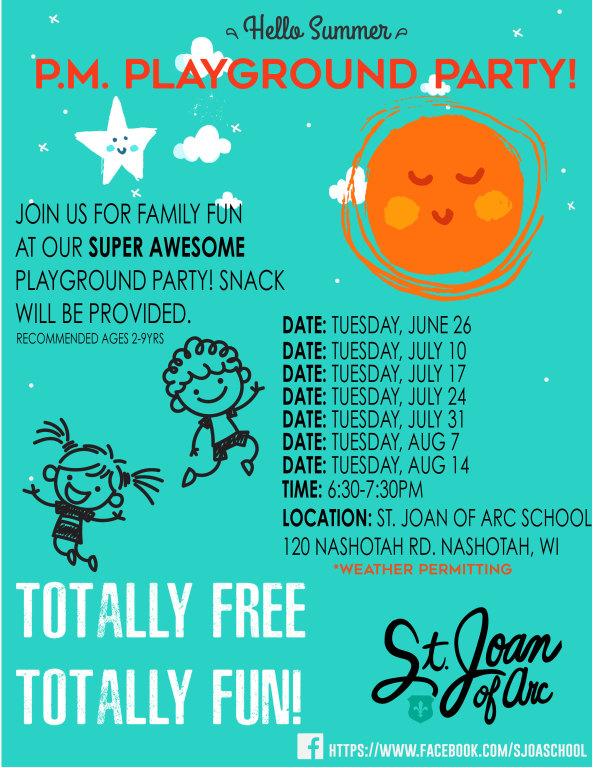 Summer P.M. Playground Party Flier