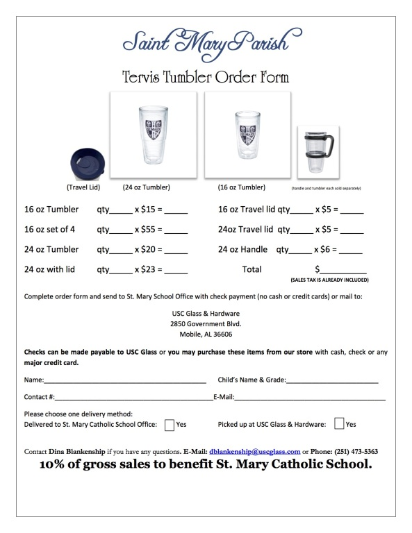 Tervis Order Form
