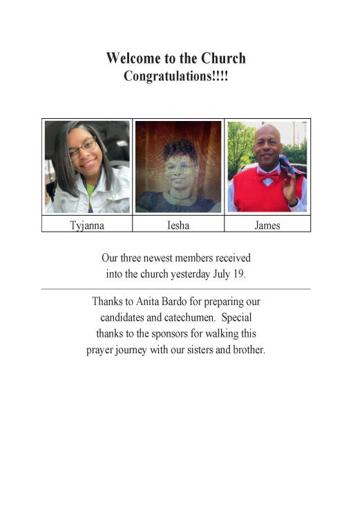 New Members To St. Rita