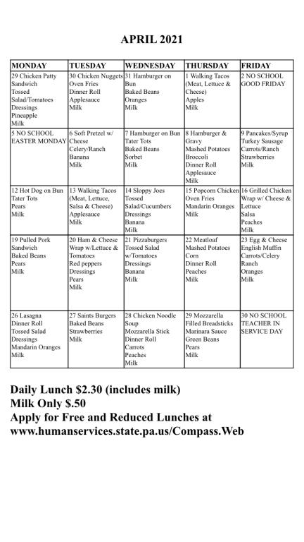 April 2021 Lunch Calendar