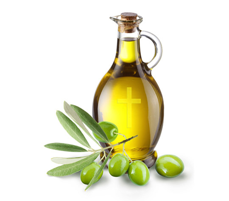 ID: a pitcher of anointing oil with a branch of green olives in front of it.