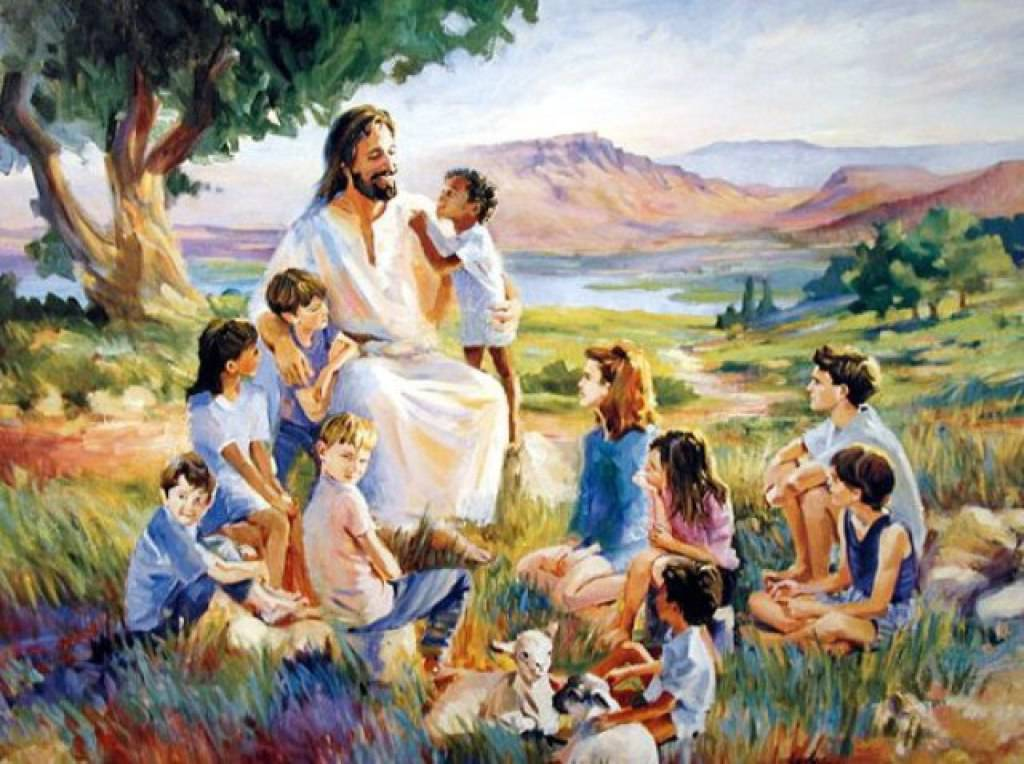 Jesus with a group of children in modern clothes