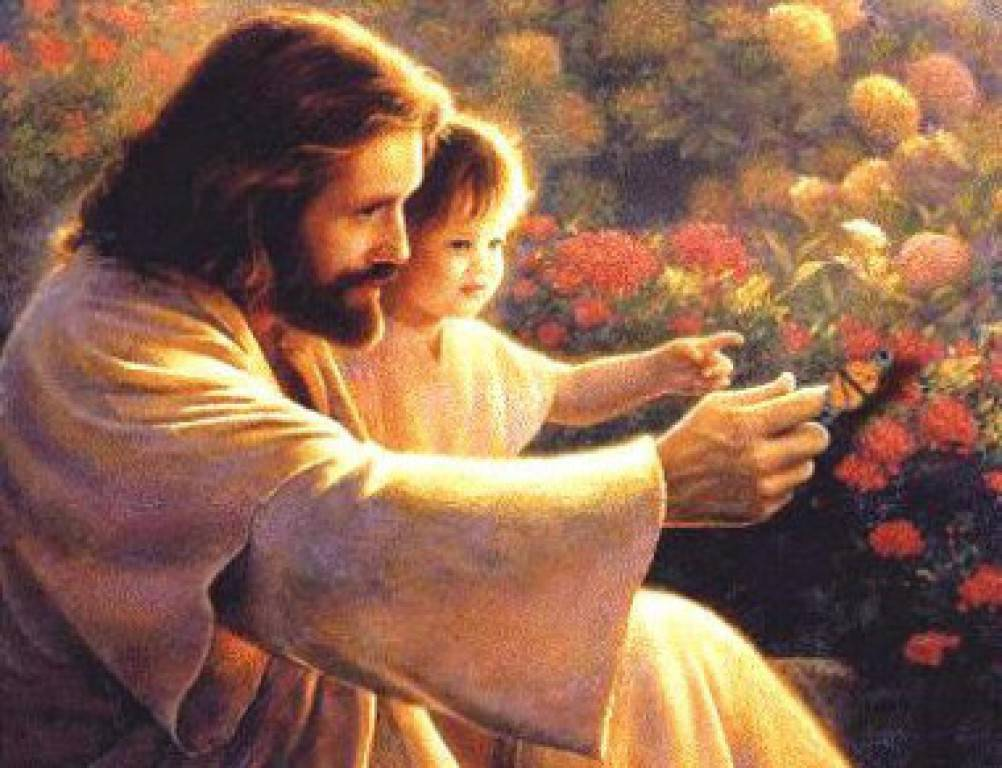 Jesus showing a small child a butterfly