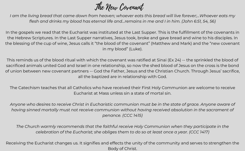 Eucharist & Reconciliation | St  Patrick Catholic Church