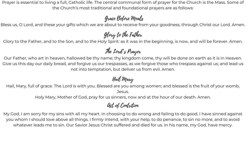 Prayer | St  Patrick Catholic Church