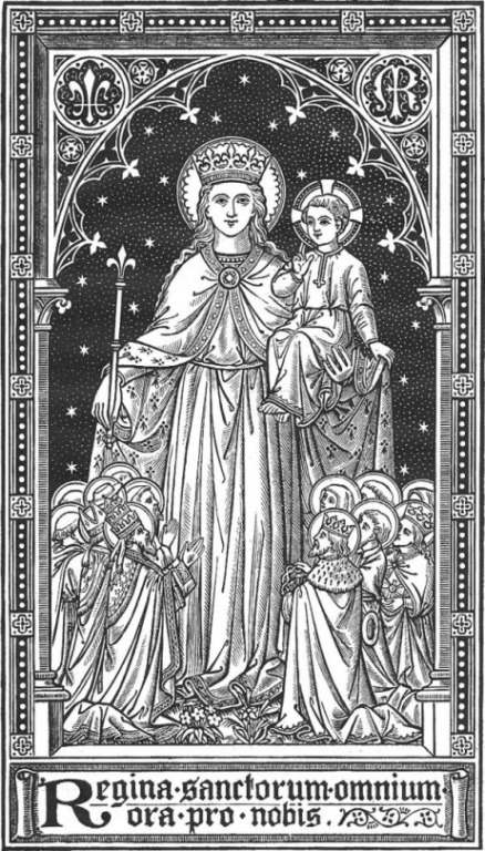 Woodcut Image of Mary the Holy Mother of God