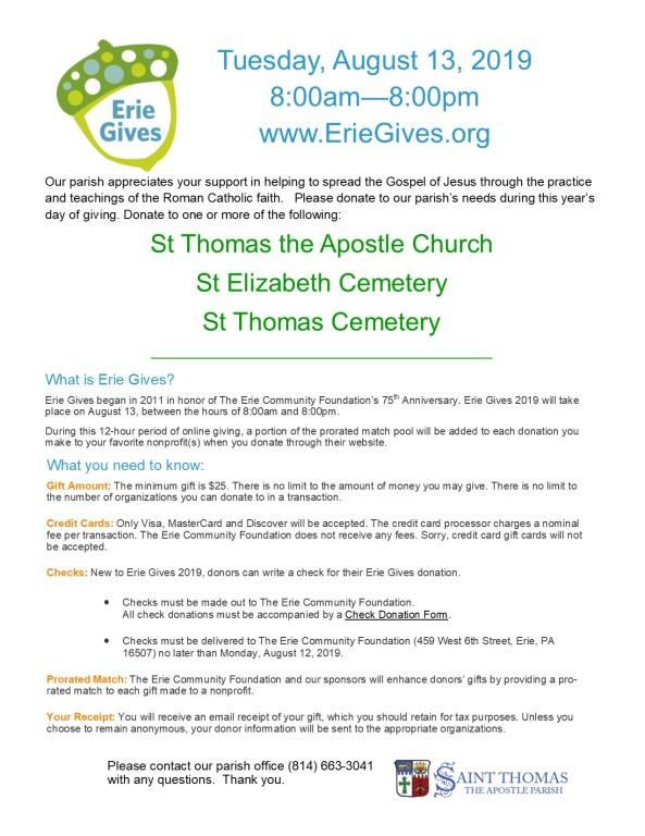 Erie Gives | Saint Thomas the Apostle Parish