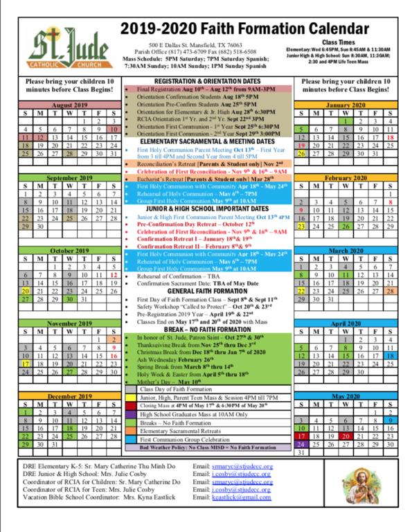 Faith Formation Calendar