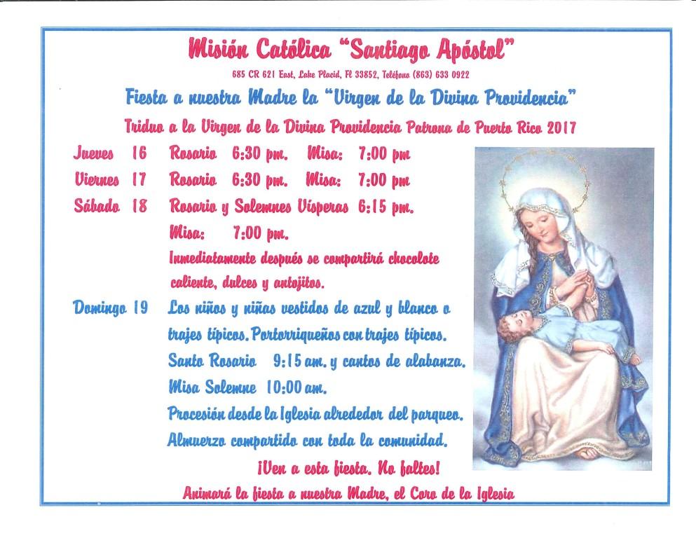 Fiesta a nuestra Madre la Virgen de la Divina Providencia