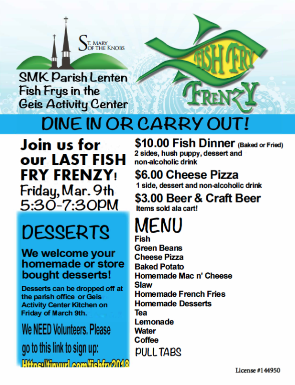Fish fry menu st mary of the knobs for Fish fry menu