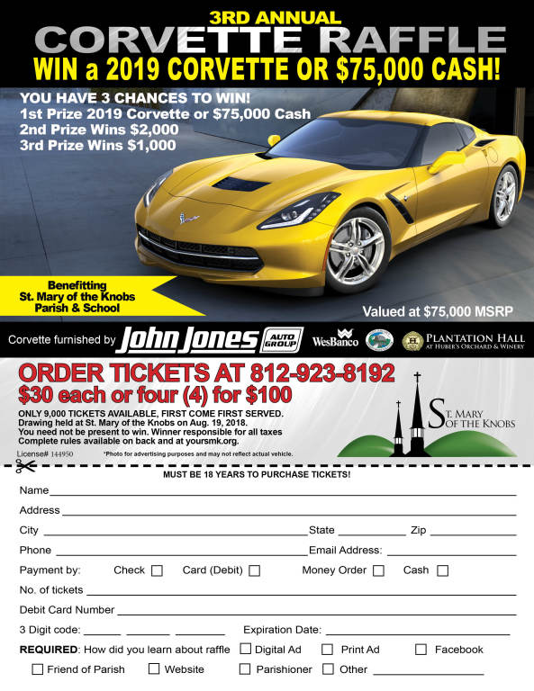 corvette raffle form