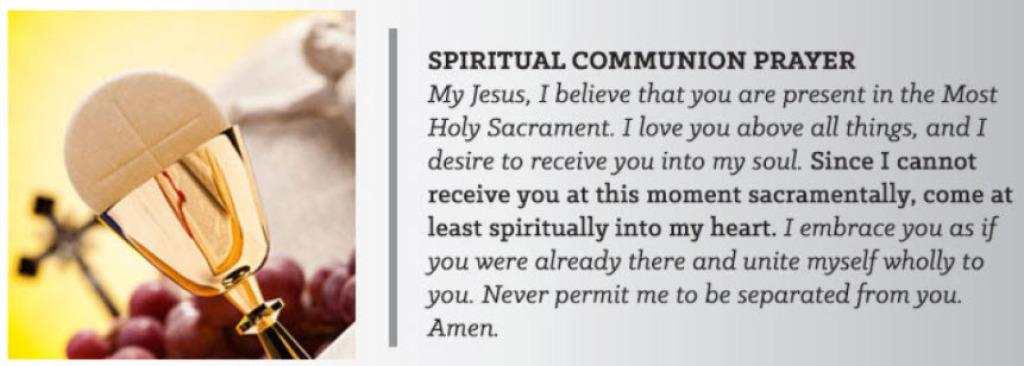 Spiritual Communion Prayer