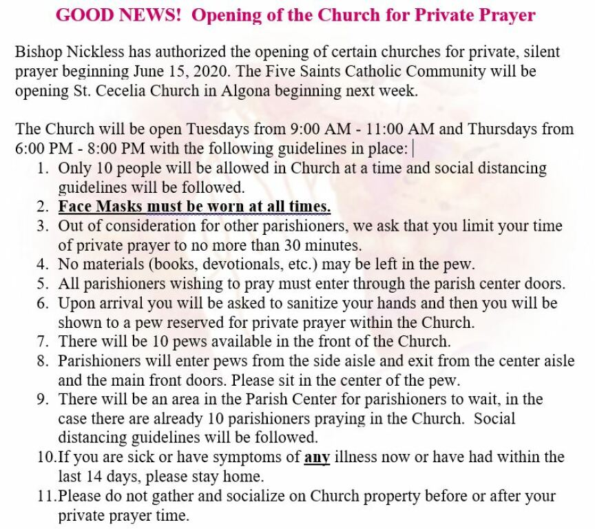 Opening of Church for Private Prayer