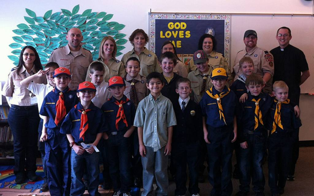 This photo was taken at our first den meetings.  Most of the founding cub scouts and scout leaders are present, but there are a few who are not in the photo.  Congratulations on chartering our St. Andrew Pack 3774!