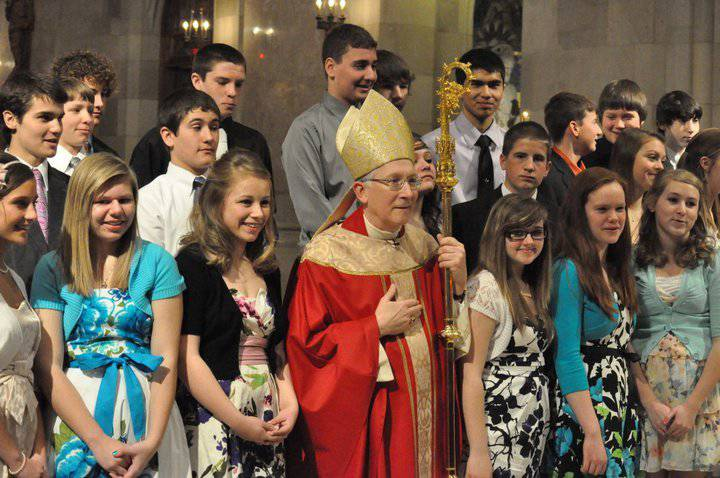 confirmation candidates with Bishop Blair
