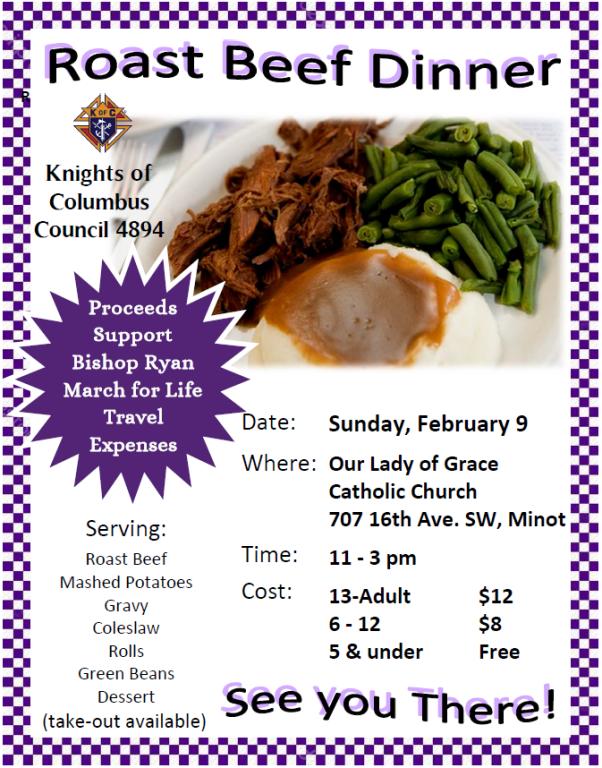 Knights of Columbus Roast Beef Dinner