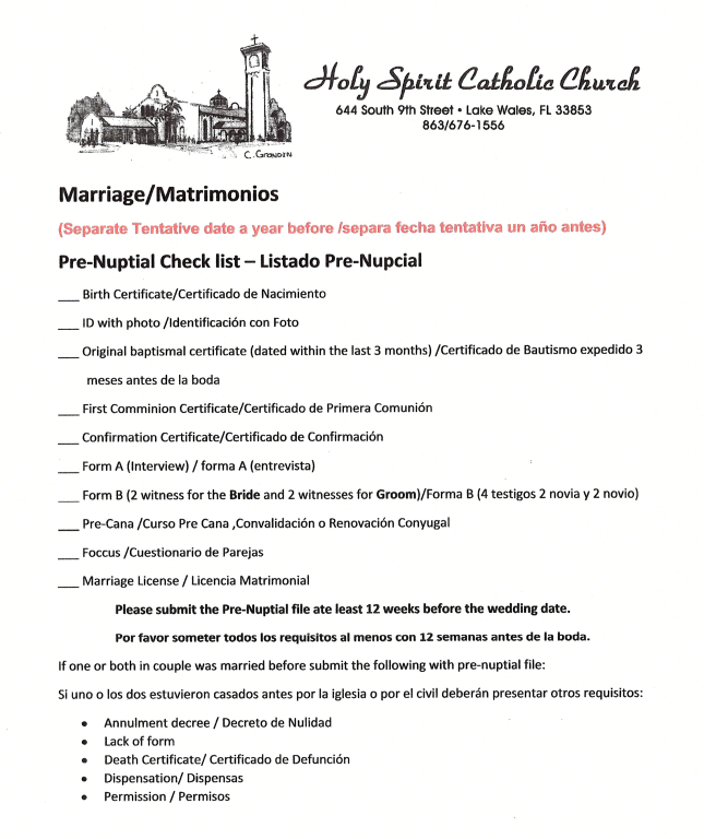 Marriage / Matrimonios | Holy Spirit Church