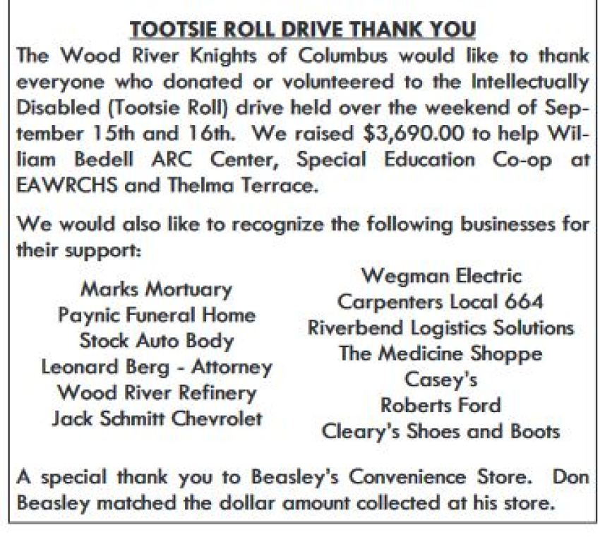 TOOTSIE ROLL DRIVE <THANK YOU> | Holy Angels Parish