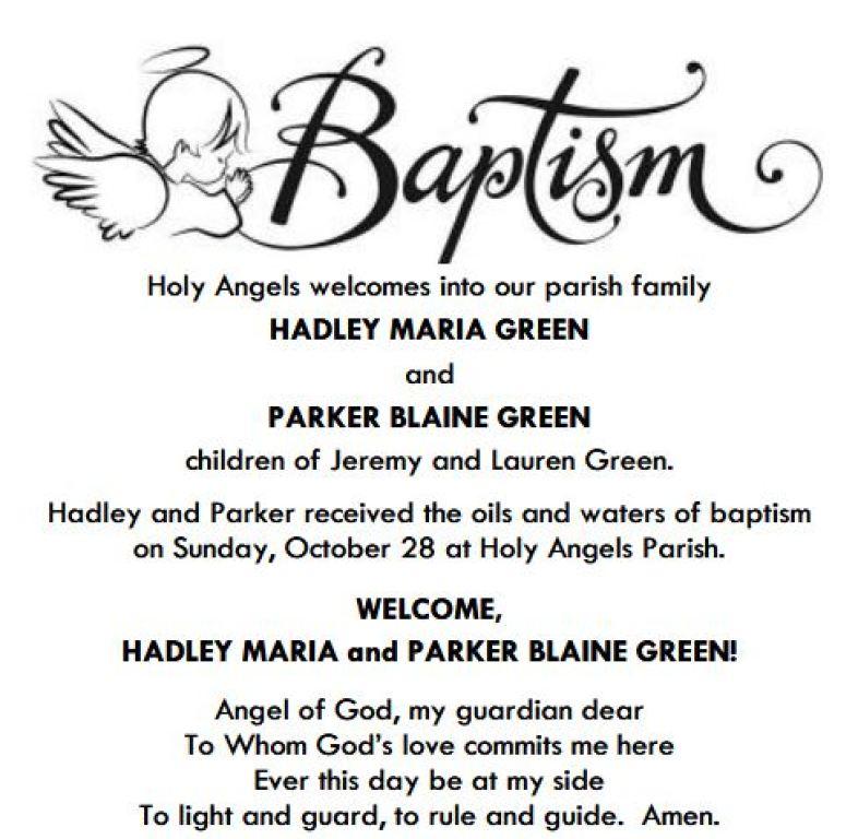 HADLEY MARIA & PARKER BLAINE GREEN