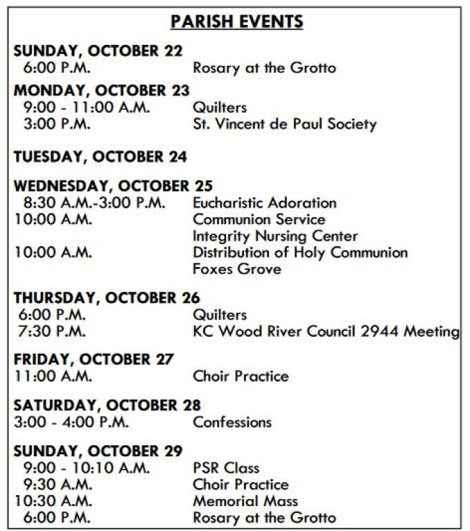 Parish Events | Holy Angels Parish
