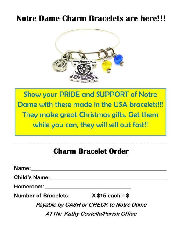 Click Here For Notre Dame Charm Bracelet Order Form
