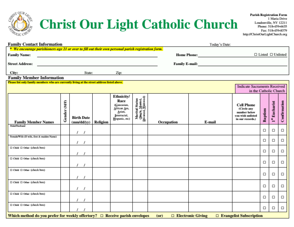 Parish Registration Form