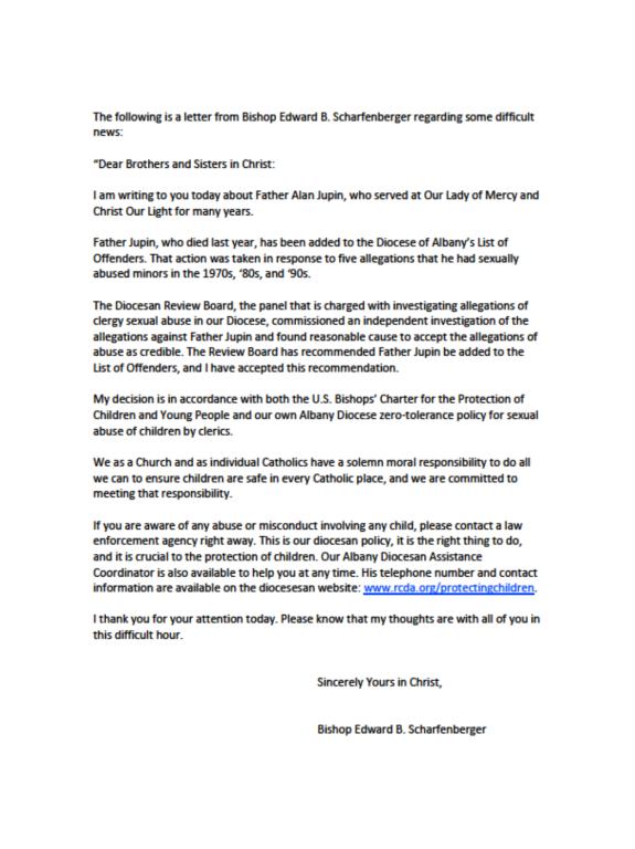 A letter from Bishop Edward B. Scharfenberger