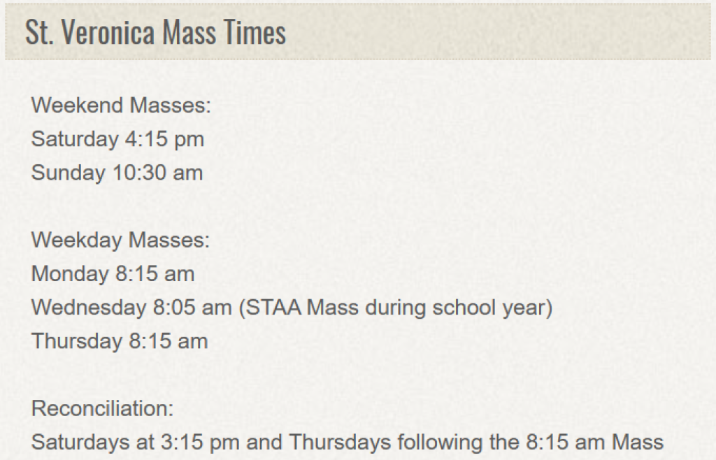 SV Mass Times
