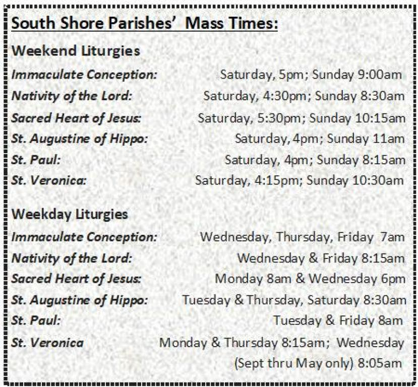 South Shore Mass Times