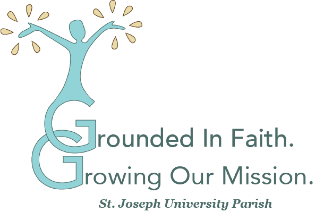 Drawing of a person with their arms raised like branches. They are sprouting out of two intertwined letter Gs that say Grounded in faith Growing our mission