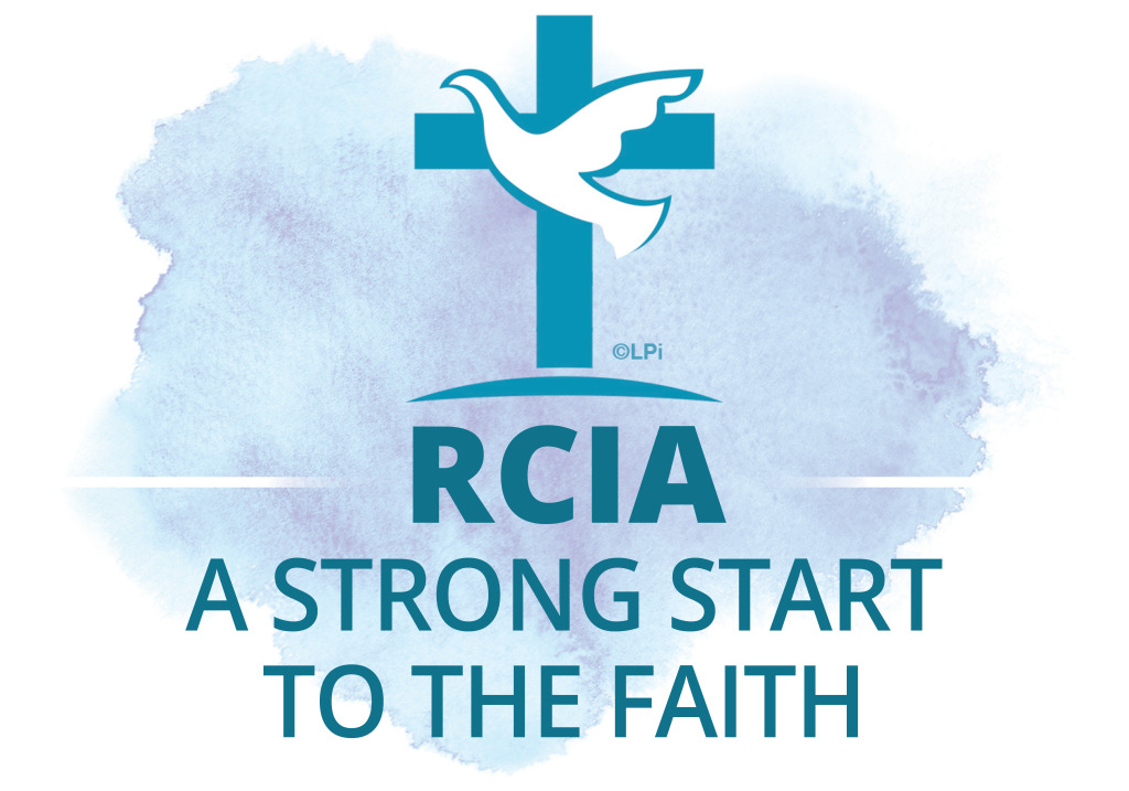 RCIA a strong start to the faith. A sketched dove flies in front of a cross.
