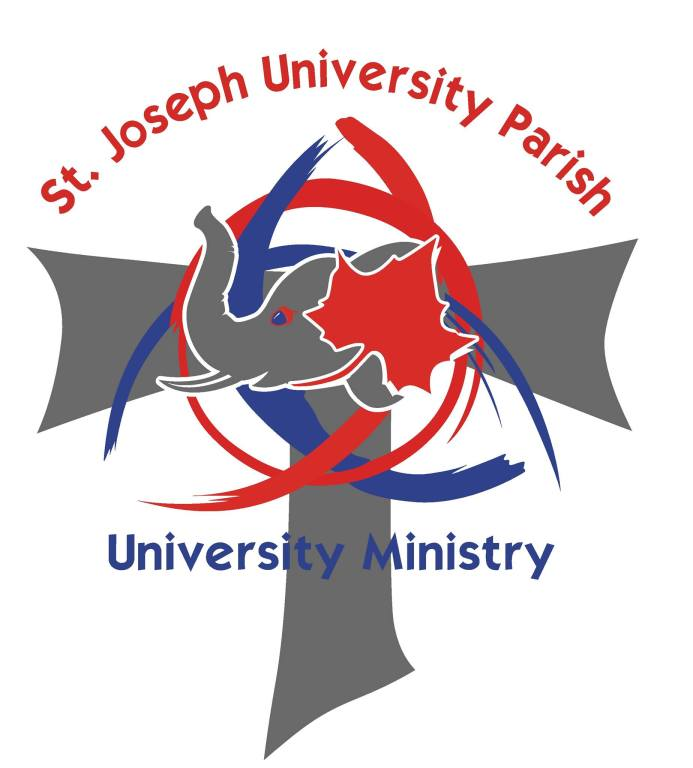 Saint Joseph University Parish University ministry. A red sycamore leaf and a grey elephant head are superimposed over a tao cross.