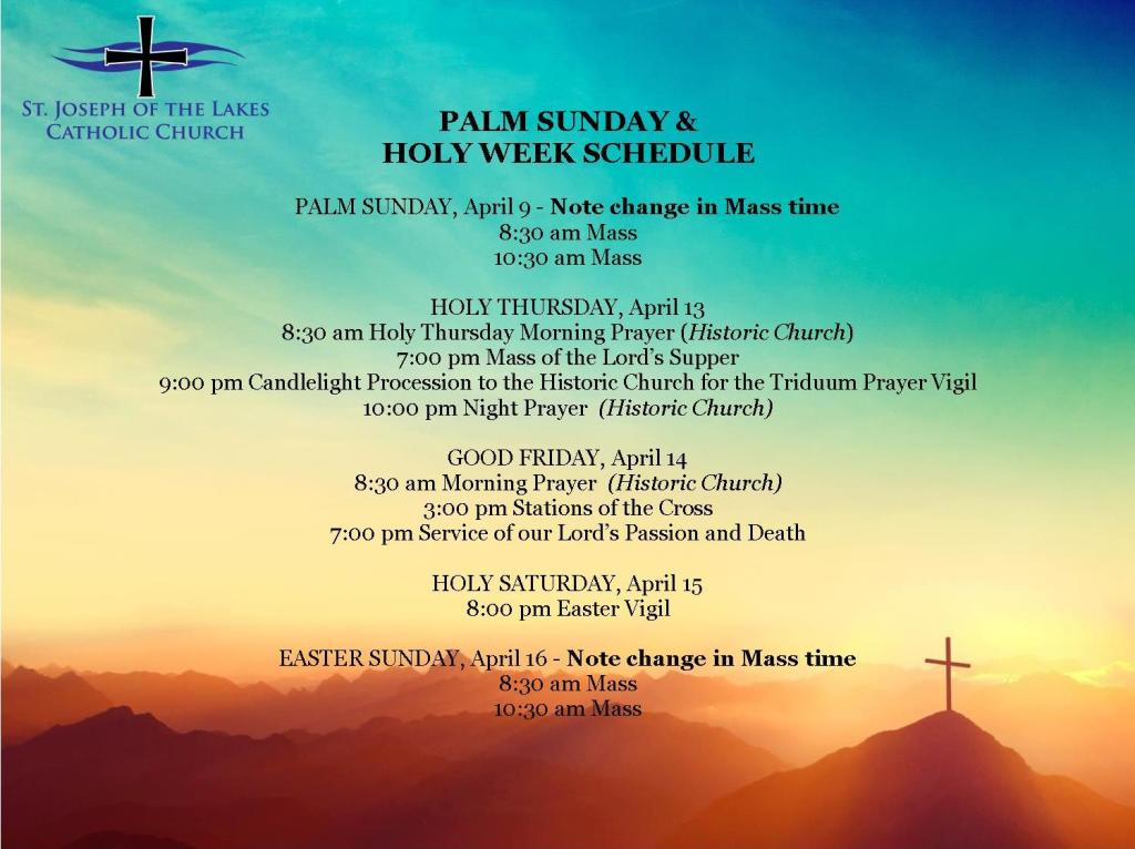 St. Joseph of the Lakes Holy Week & Easter Schedule
