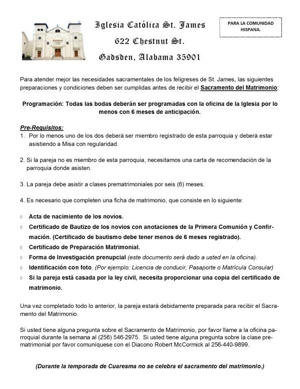 Marriage info spanish