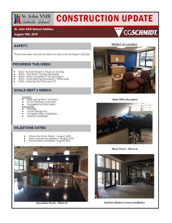 August 16, 2019 construction report