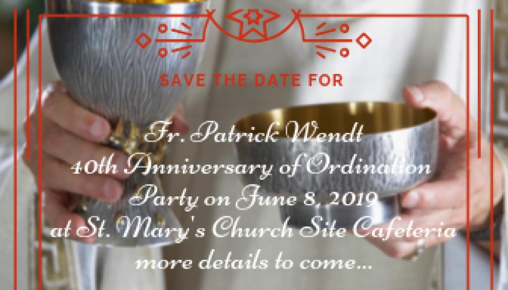 Save the Date for Fr Pat's Party