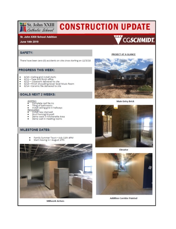 June 13, 2019 construction report