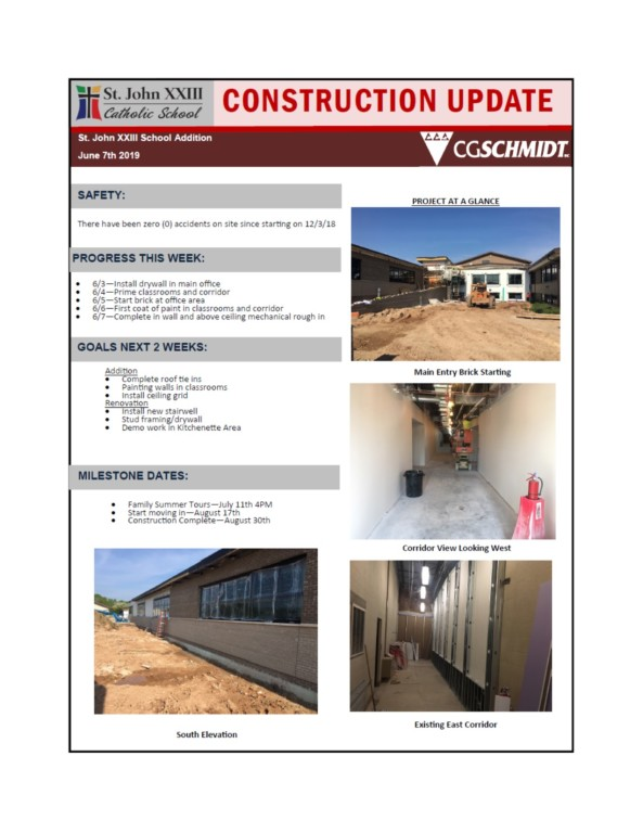 June 7, 2019 construction report