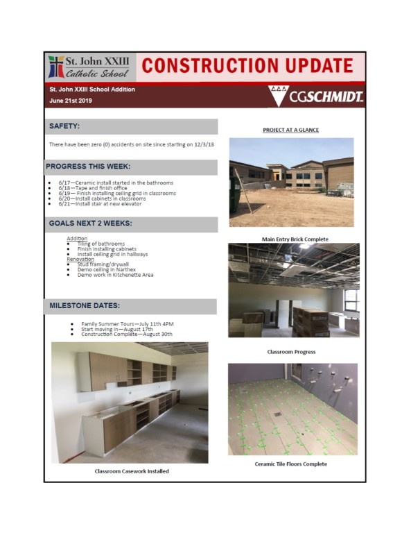 June 21, 2019 construction report