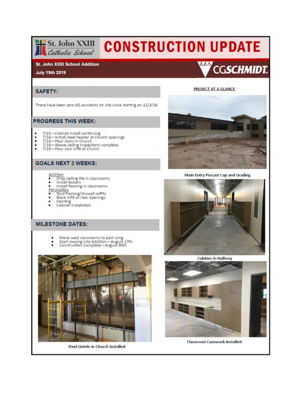 July 17, 2019 construction report