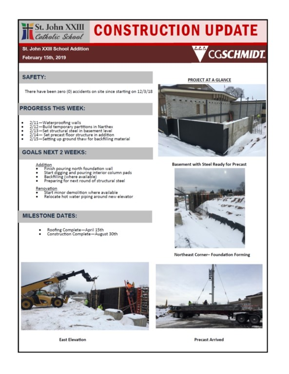 February 15, 2019 construction report