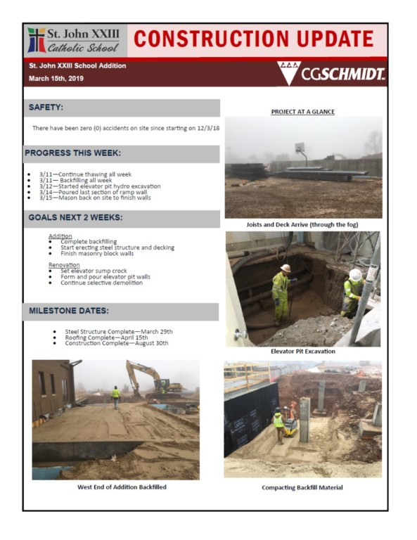 March 15, 2019 Construction Report