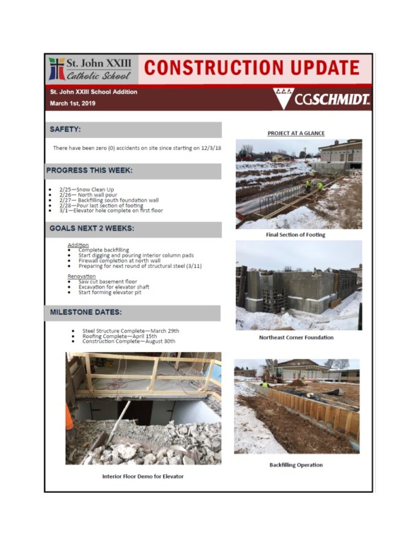 Construction report March 1, 2019