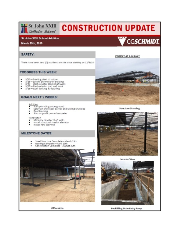 March 29, 2019 construction report