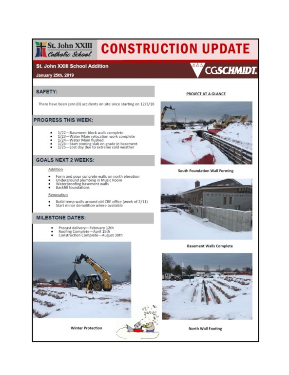 January 25, 2019 Construction Report