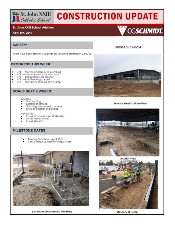 April 5, 2019 Construction Report