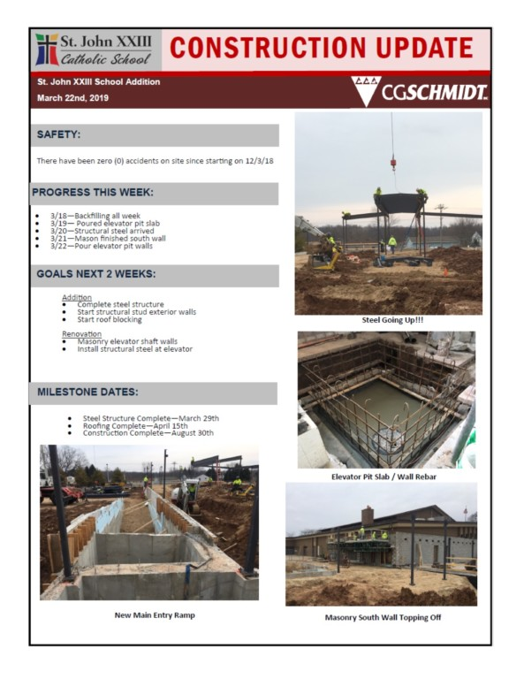 March 22, 2019 Construction Report
