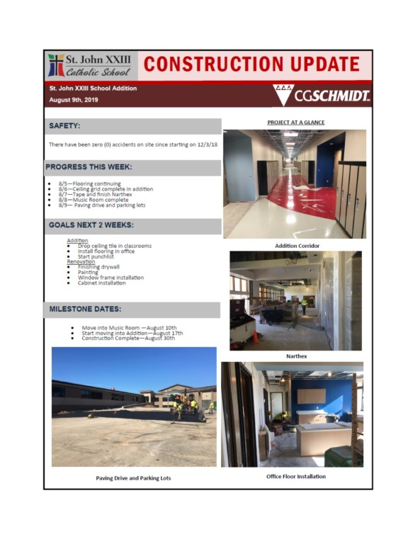 Construction Report August 8, 2019