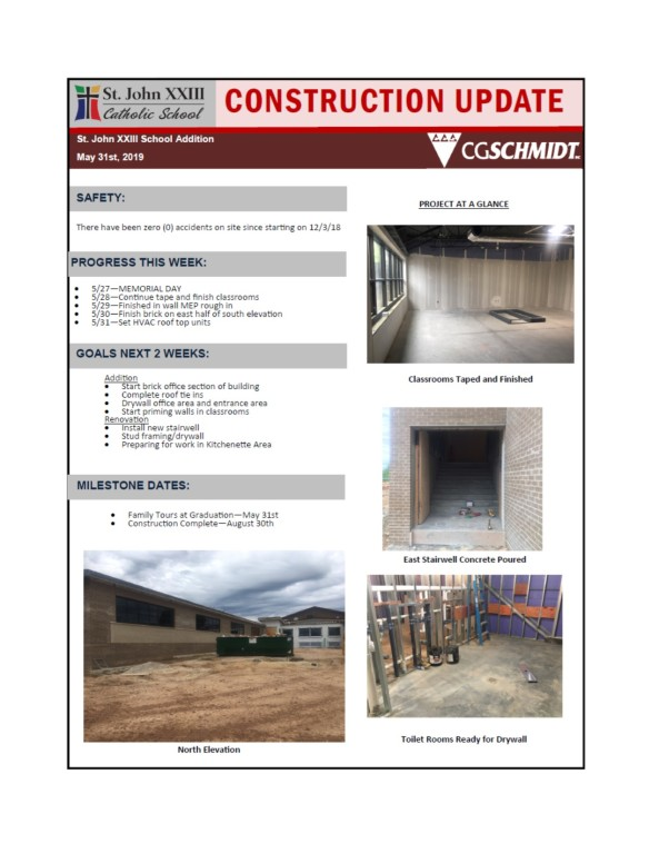 May 31, 2019 construction report
