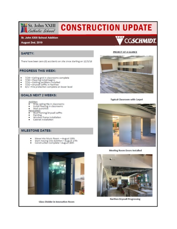 August 2, 2019 construction report